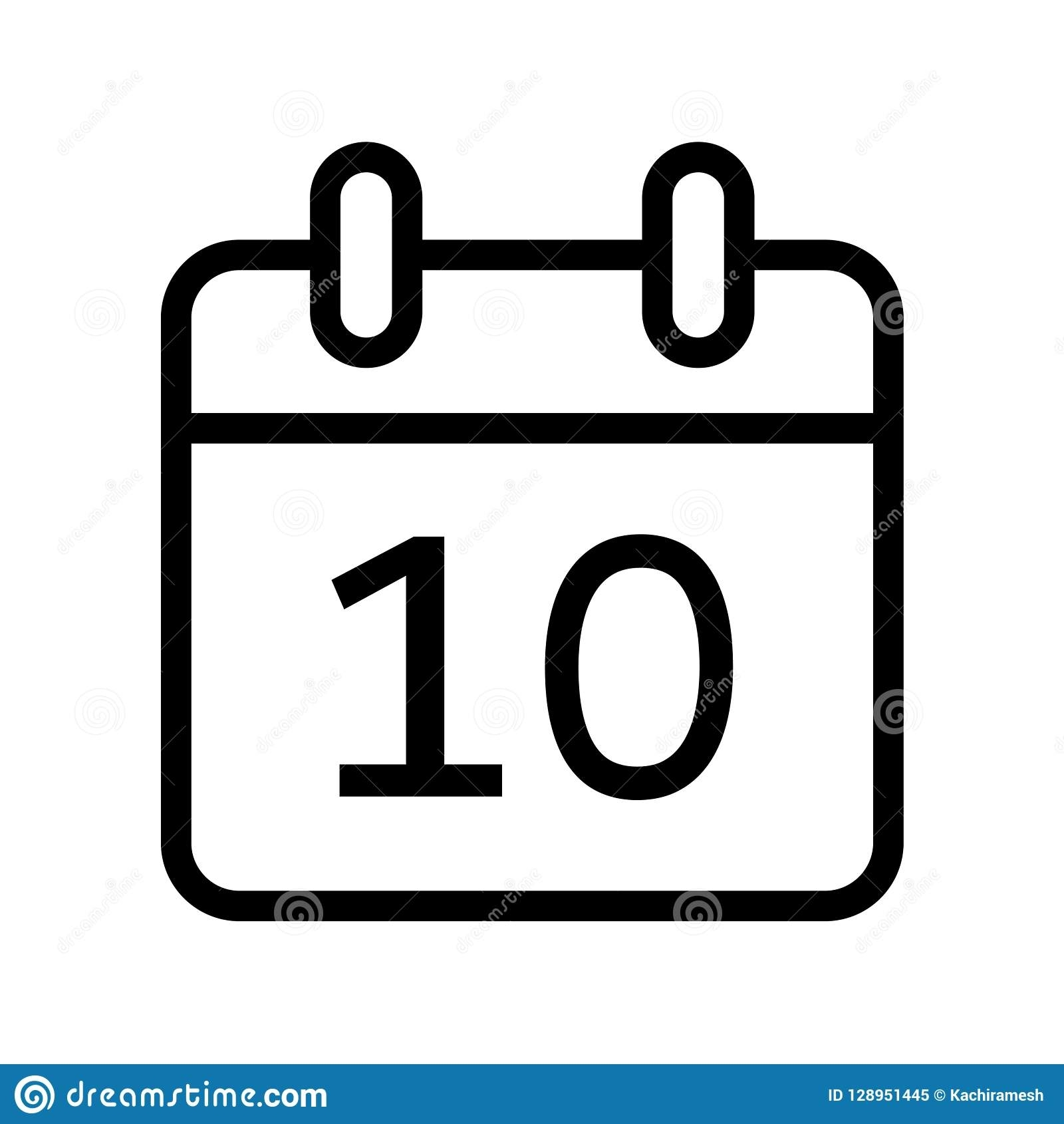 Calendar Day Ten Date Icon Stock Vector. Illustration Of