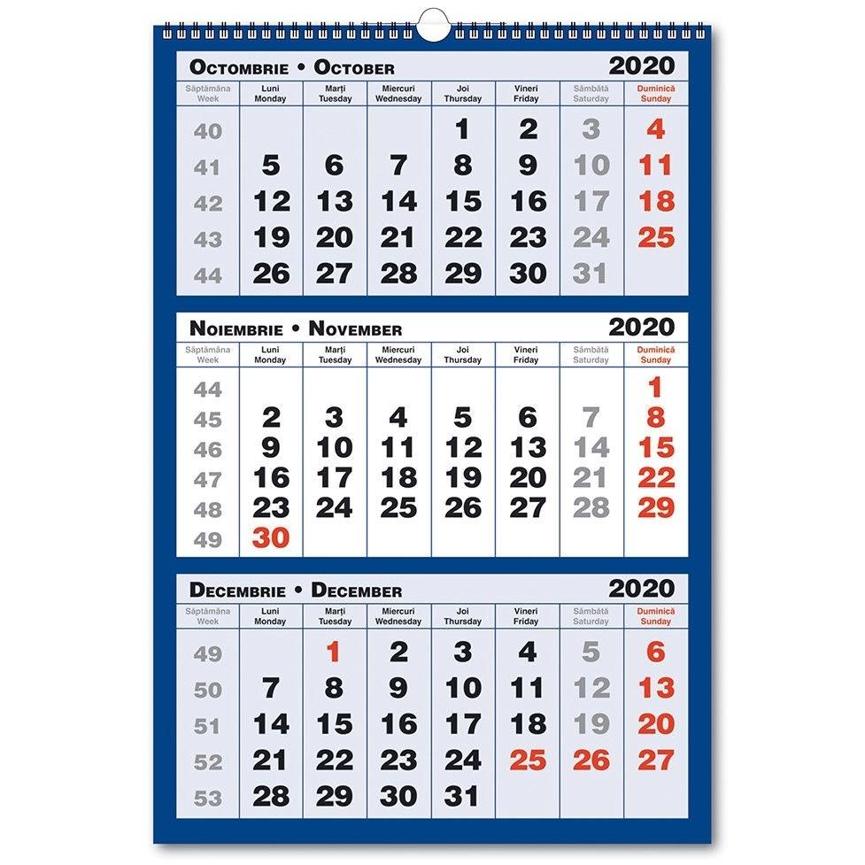 Calendar De Perete Triptic In 3 Culori 2020
