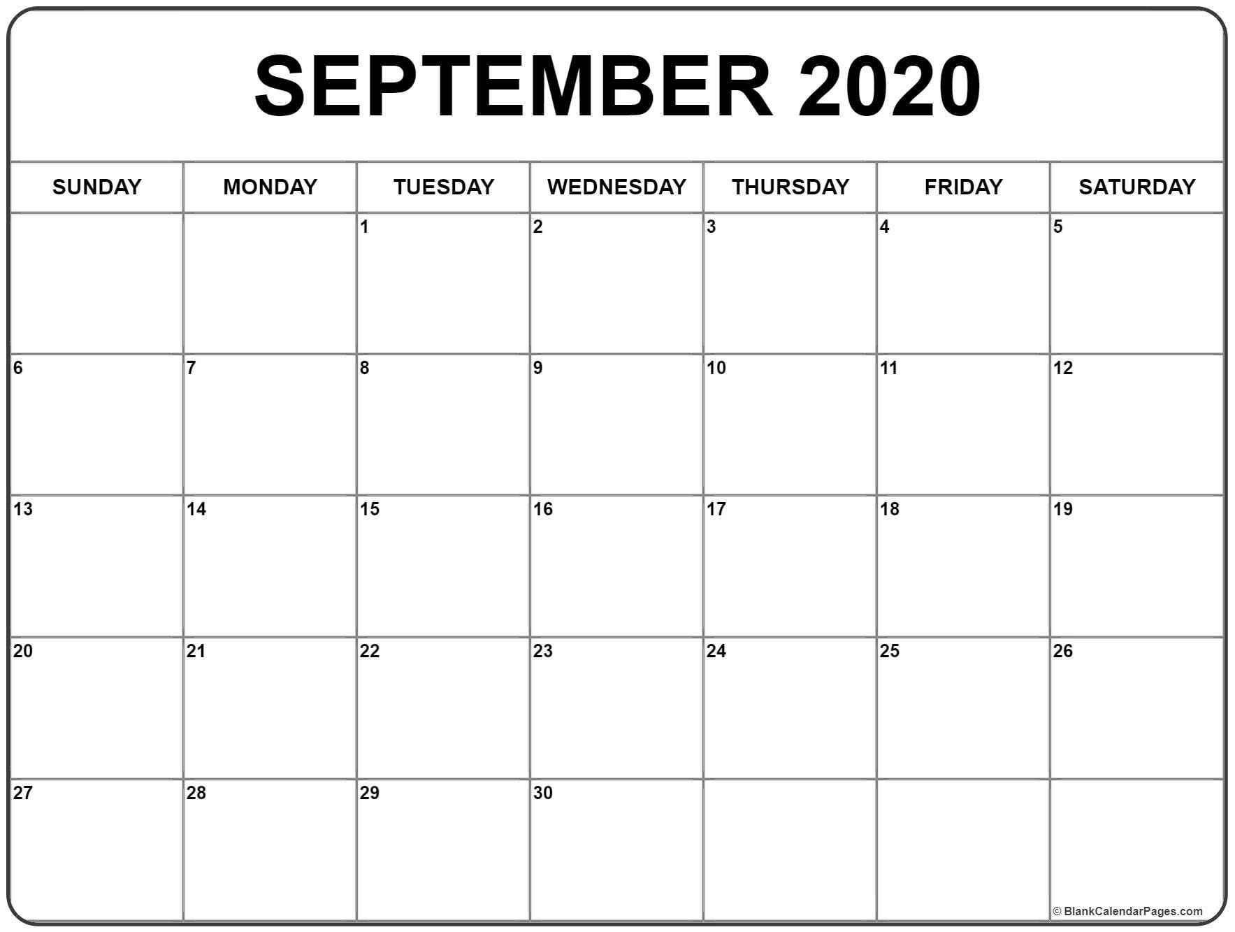 Calendar For September 2020 Printable | Monthly Calendar