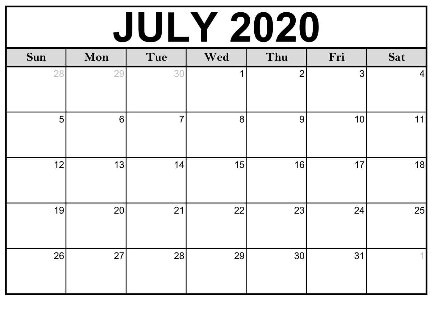 Calendar Month July 2020 - Free Printable Monthly Calendars
