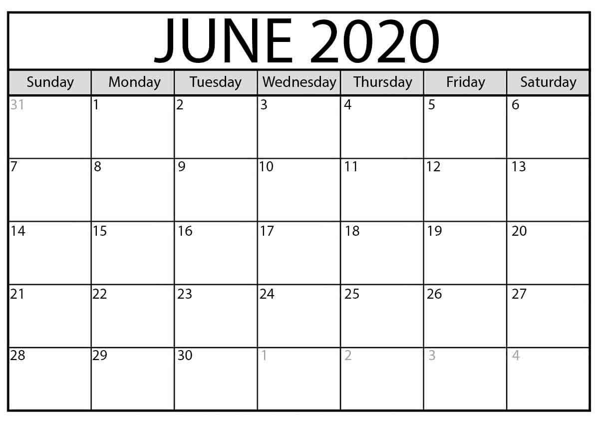 Calendar Month June 2020 A Free Latest Calendar & Holidays