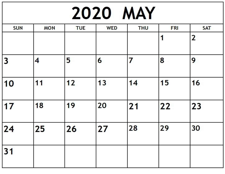 Calendar Month Of May 2020 A Excel Calendar - Orari E