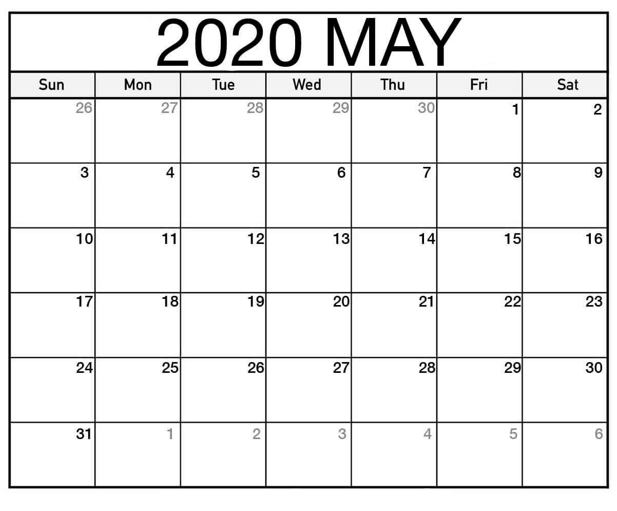 Calendar Month Of May 2020 - Monthly Calendar Printable