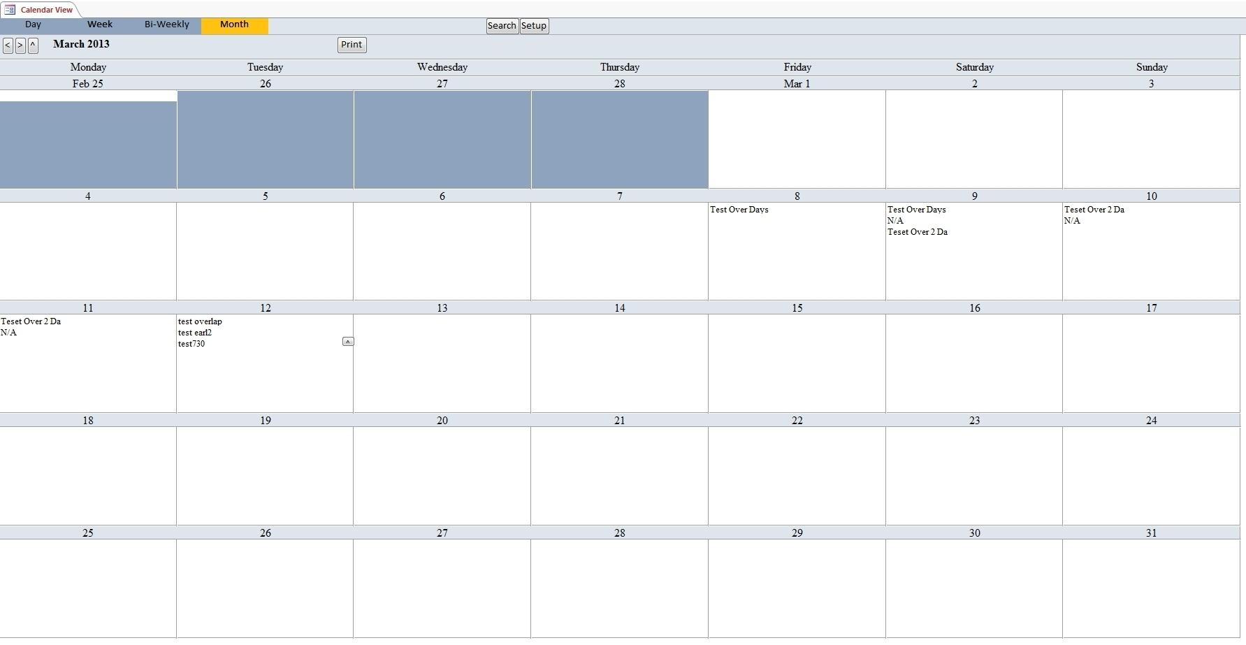 Calendar Scheduling Database Template | Calendar Software