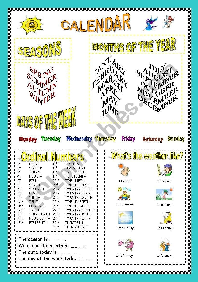 Calendar: Seasons, Months, Days Of The Week, Ordinal Numbers