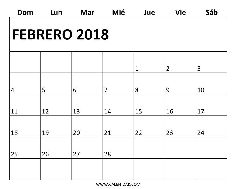 Calendario 2018 Febrero Para Imprimer | Calendario 2018