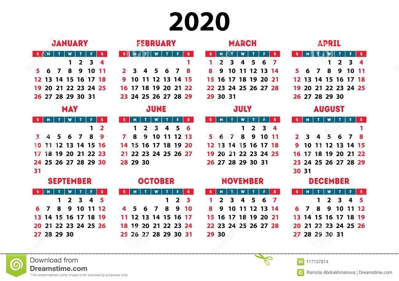 Calendario 2020 Con Numero De Semanas Para Imprimir
