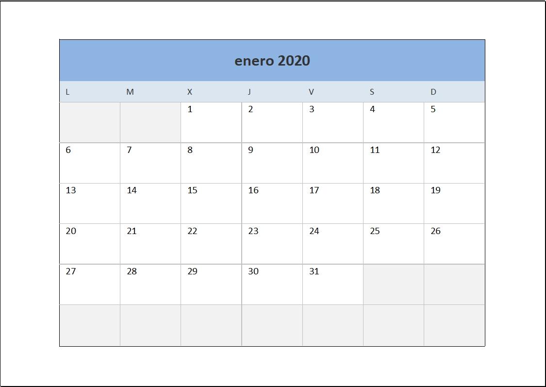 Calendario 2020 En Excel • Excel Total