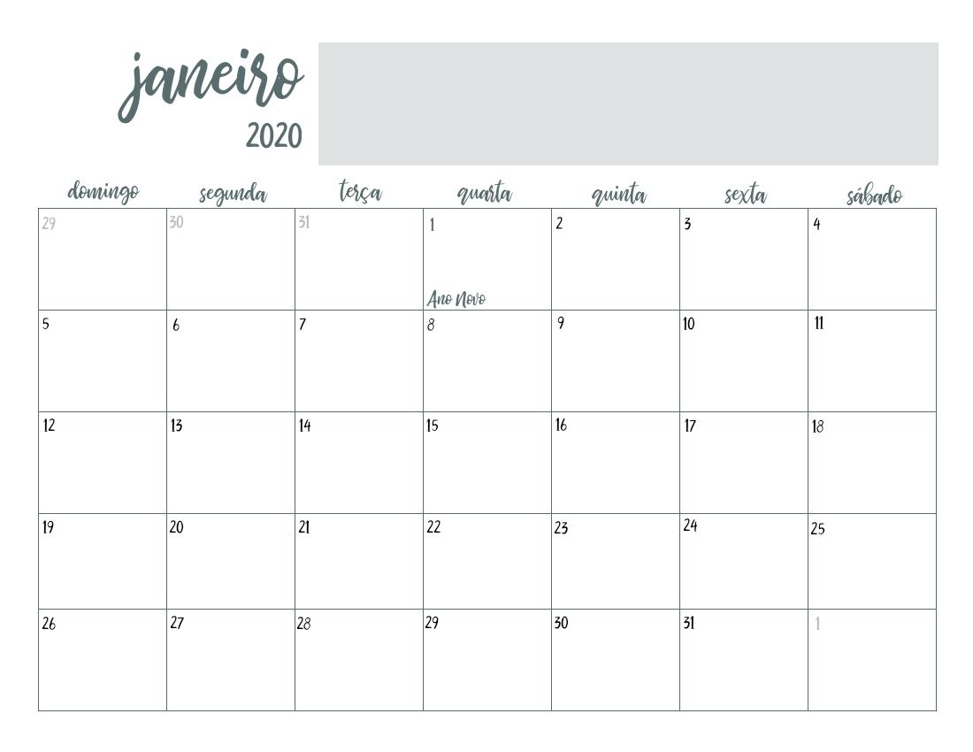 Calendário 2020 Minimalista Cinza Digital Pdf Planner