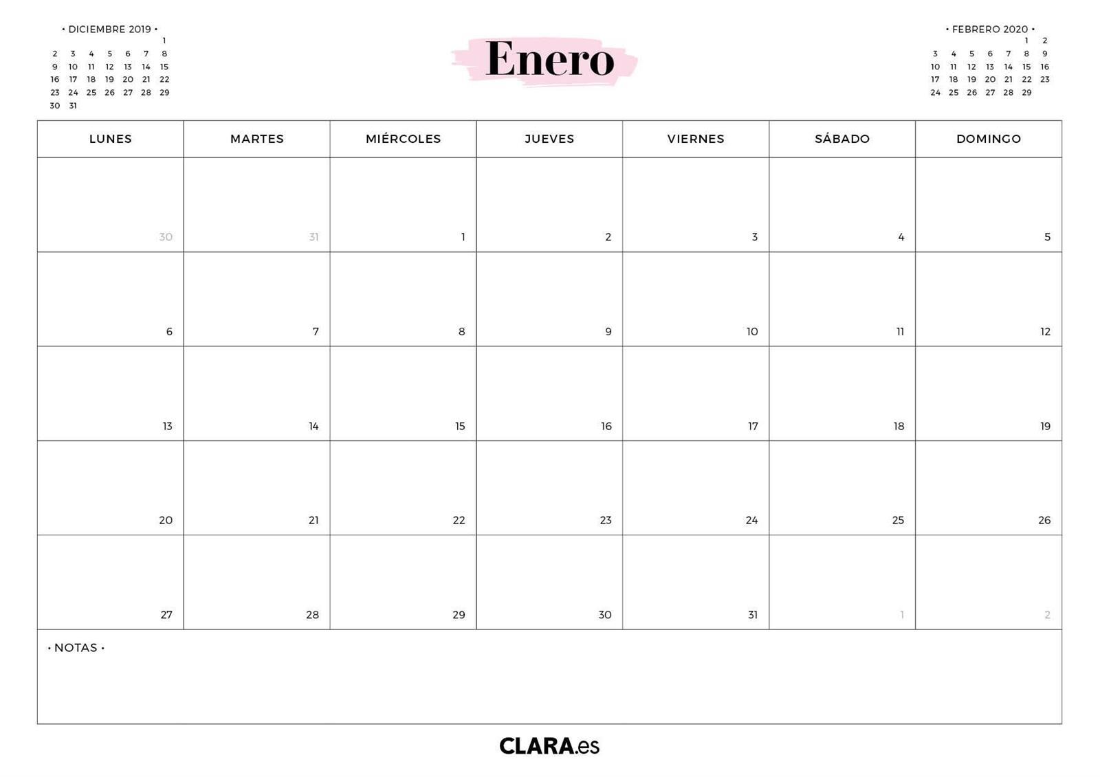 Calendario 2020 Para Imprimir Gratis (En Pdf Y Jpg)