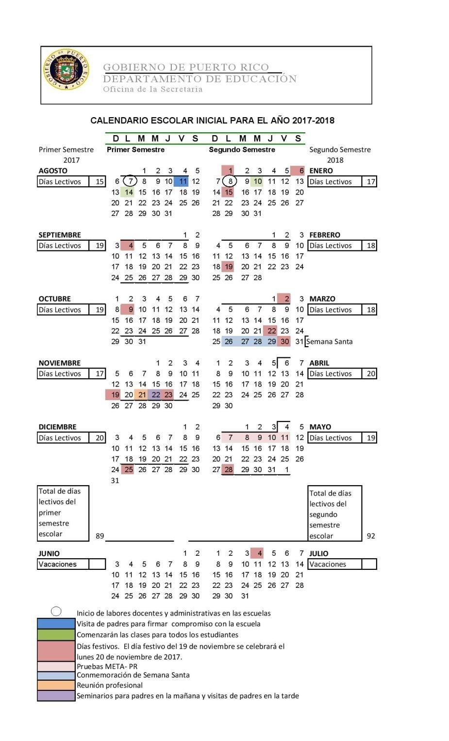 Calendario Escolar De Puerto Rico Para El Año 2017-2018