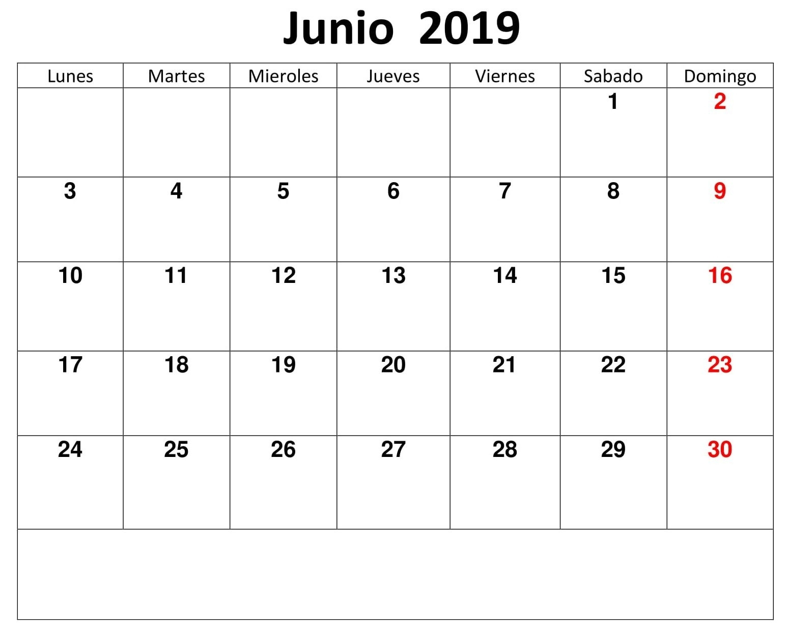 Calendario Junio Monthly 2019 Para Imprimir (With Images