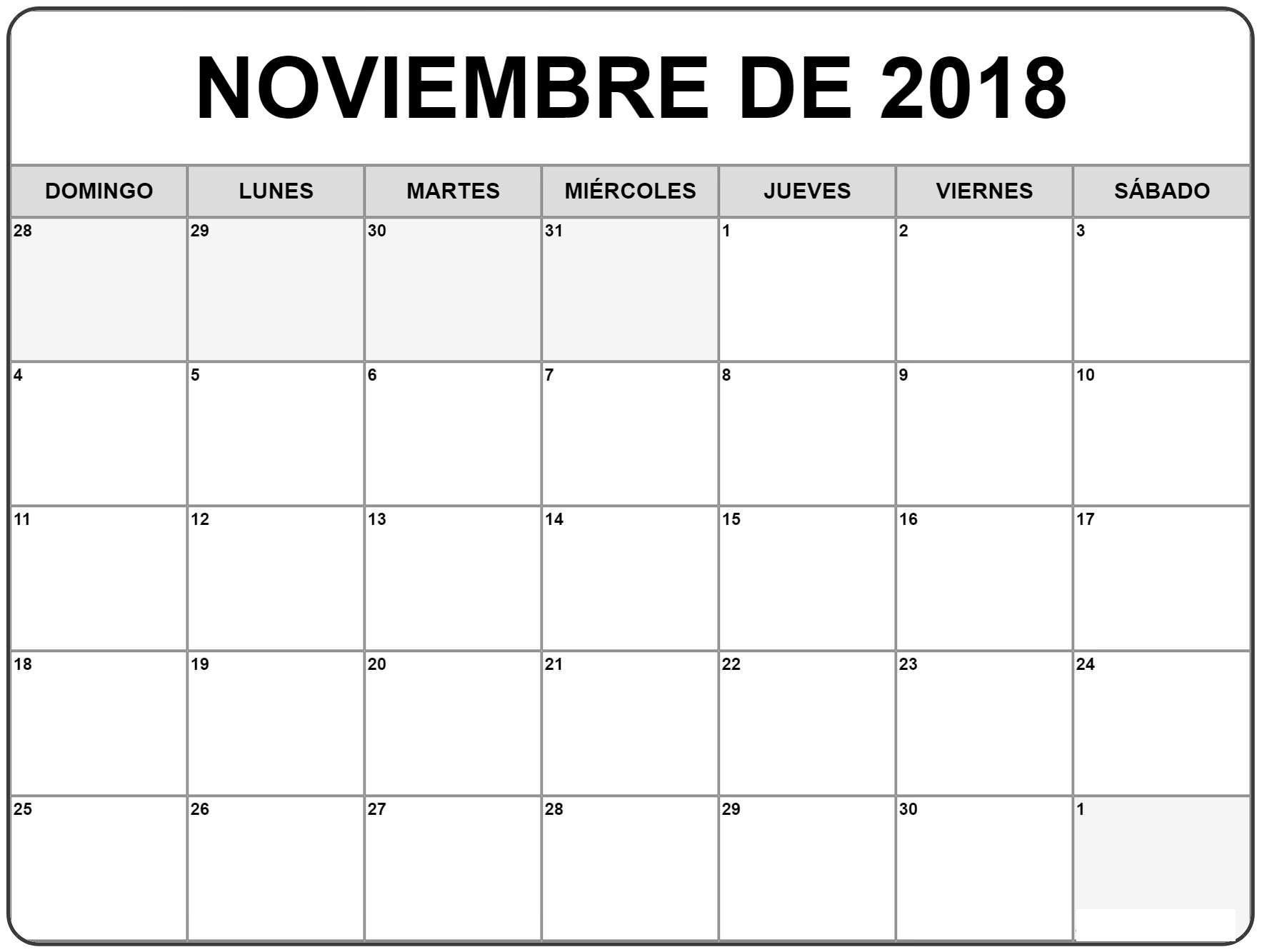 Calendario Noviembre 2018 Para Imprimir Excel (Con Imágenes