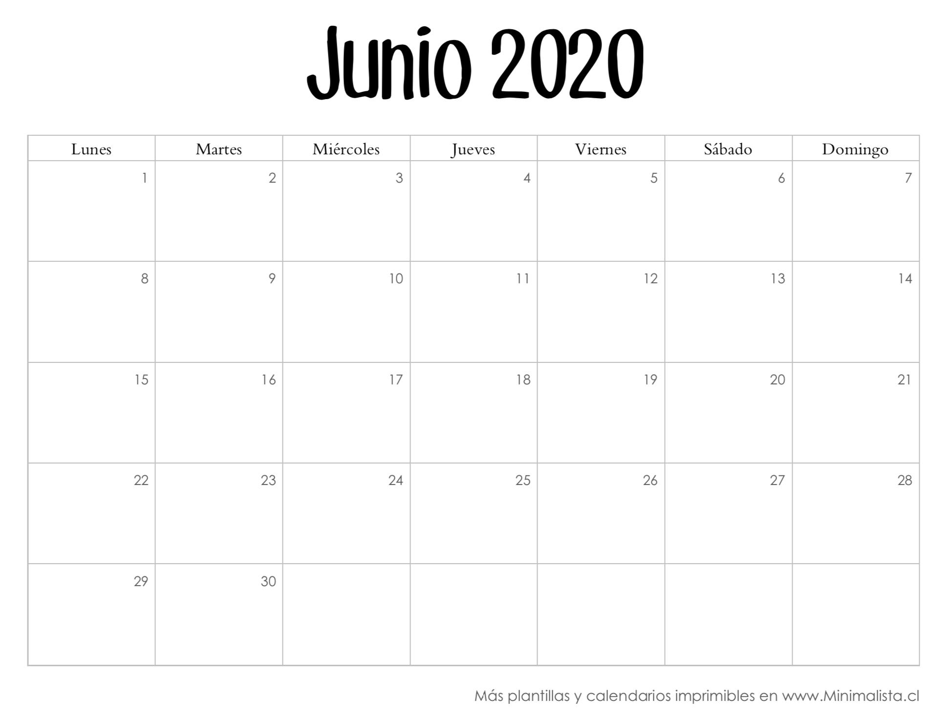 Calendarios 2020 Para Imprmir - Minimalista