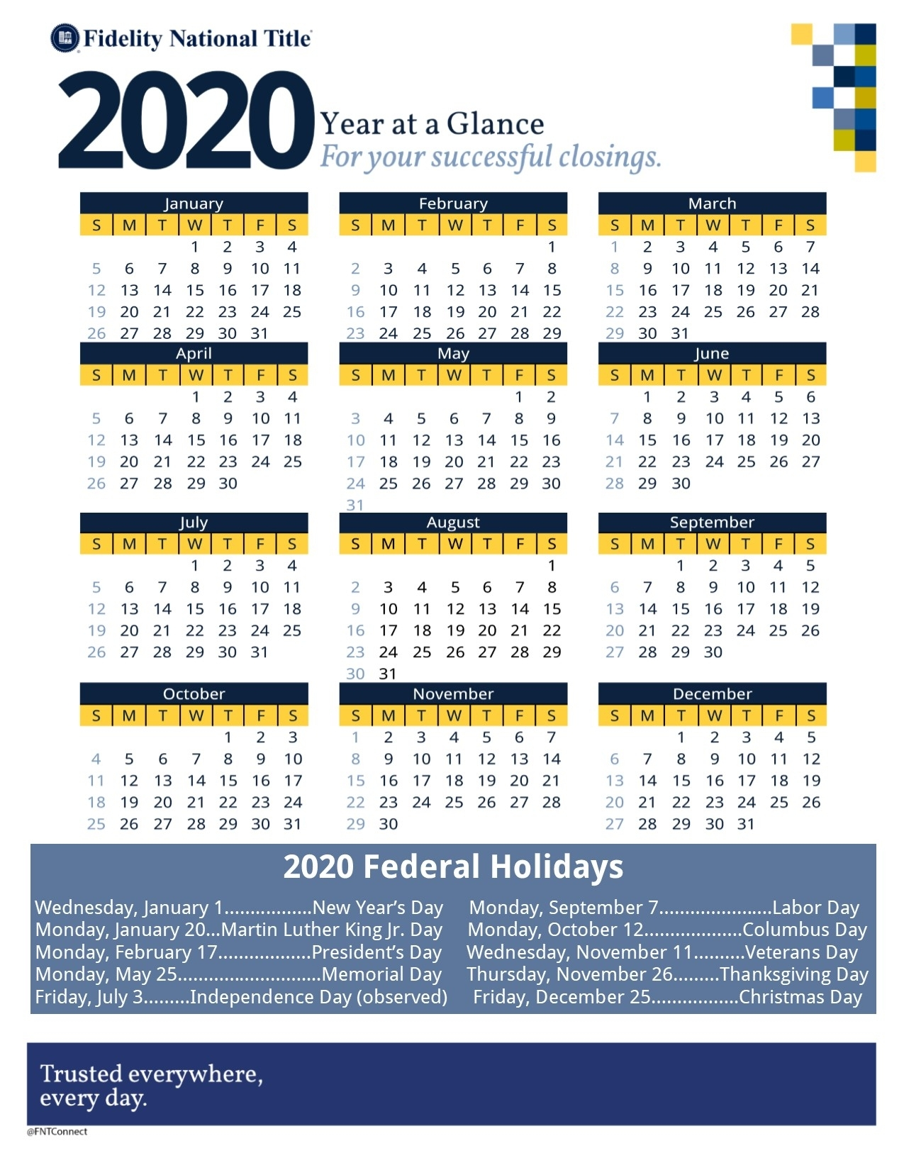 Calendars | Fidelity Southern California