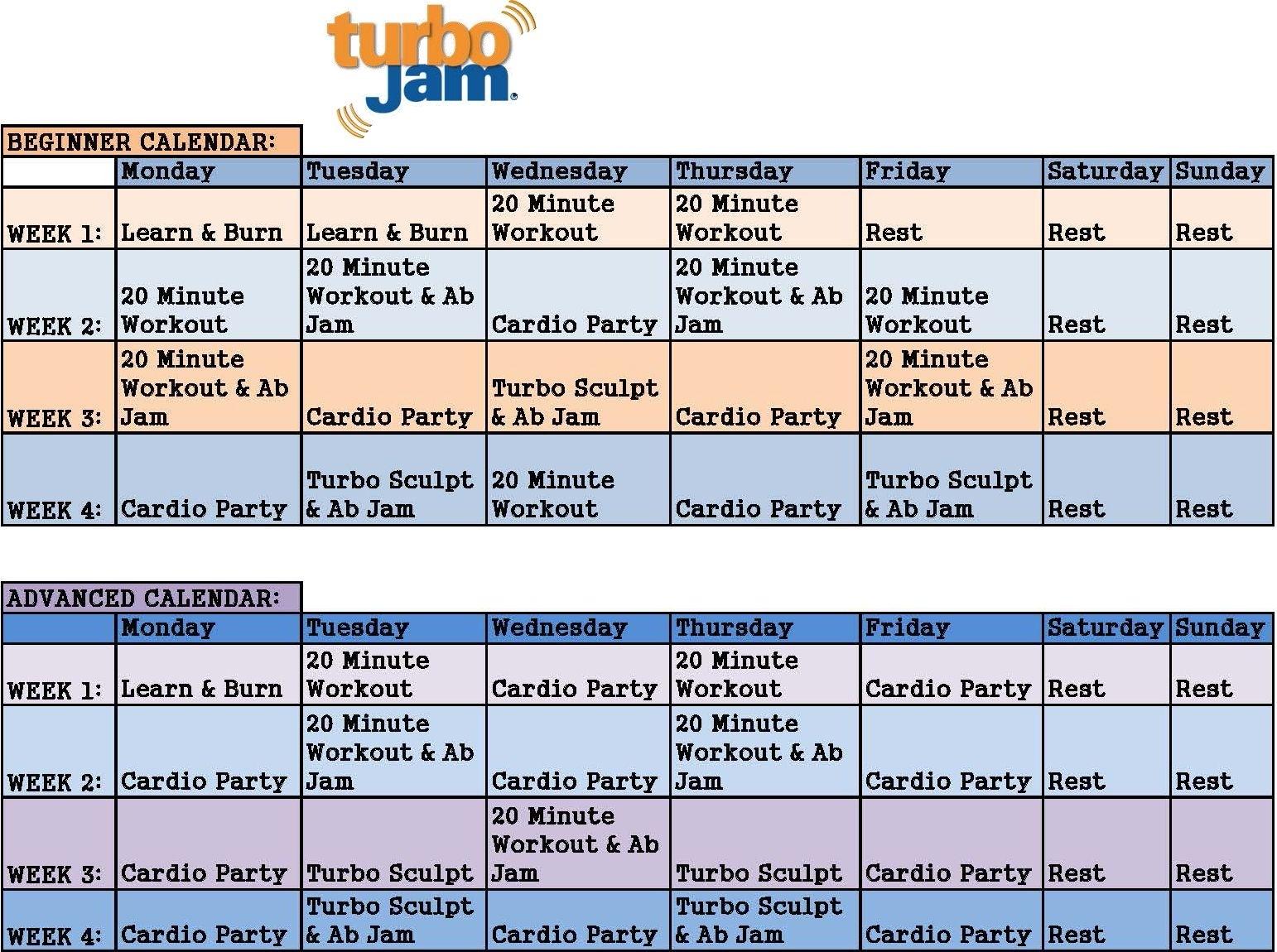Chalene Johnson Turbo Jam Calendar From Beachbody (With