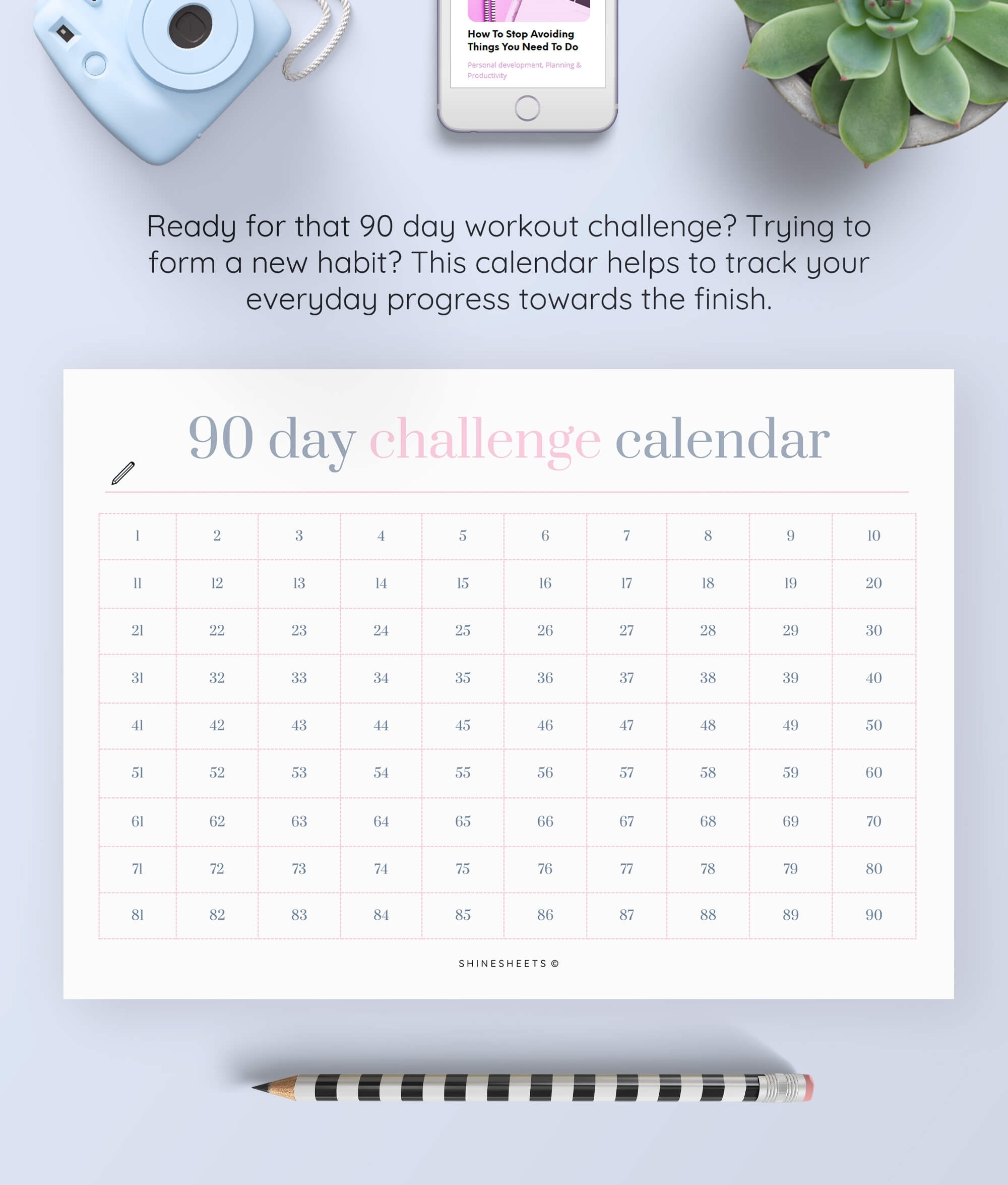 Challenge Calendar Printable / Habit Tracker