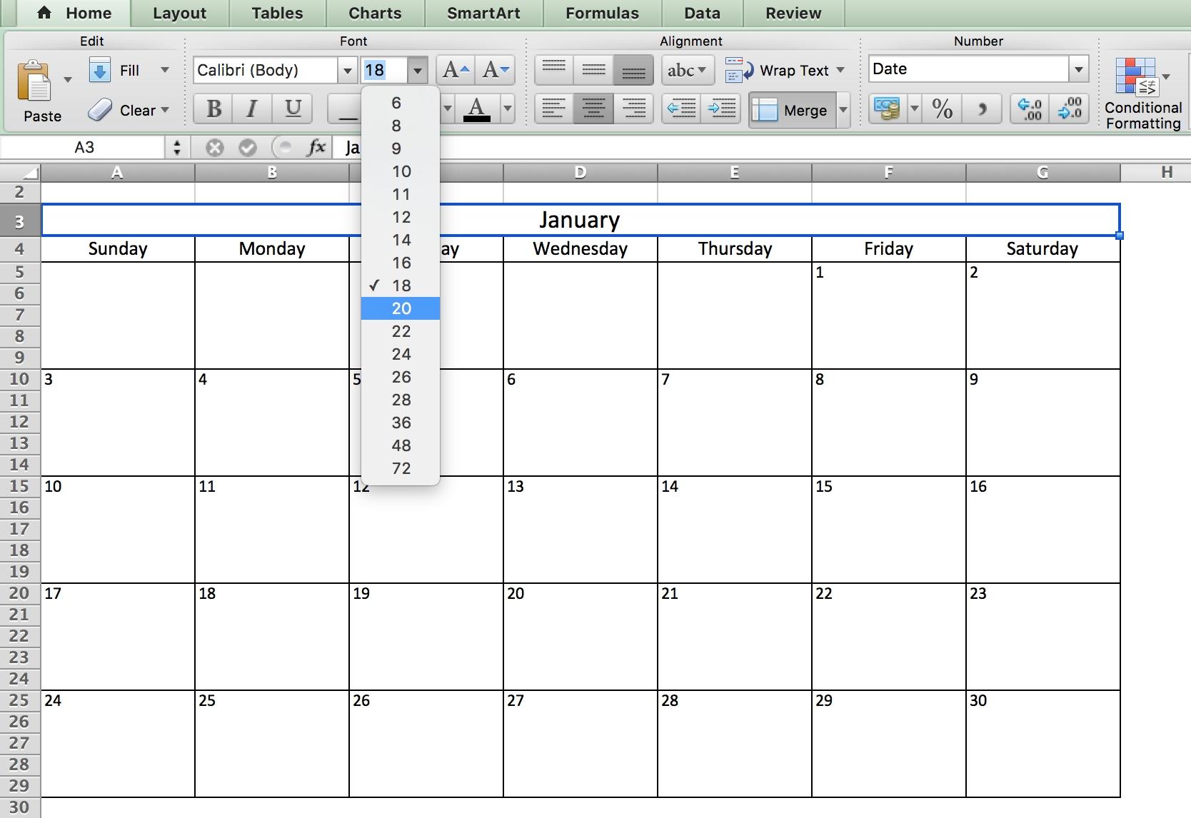 Choosing Fonts - Calendar In Excel | Free Calendar Template