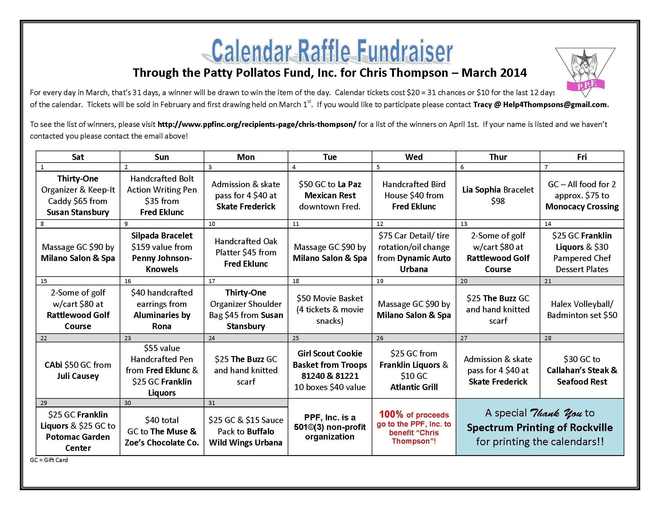 Chris Thompson Calendar Raffle (With Images)   Fundraising
