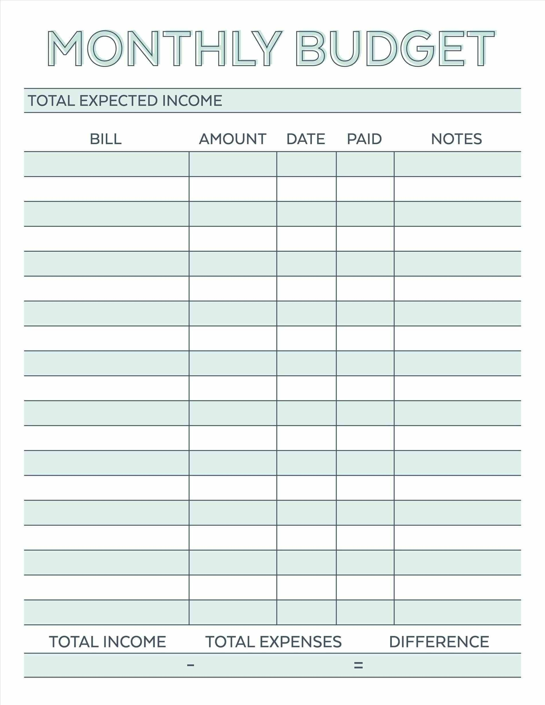 Collect Blank Monthly Bill Payment Worksheet (With Images