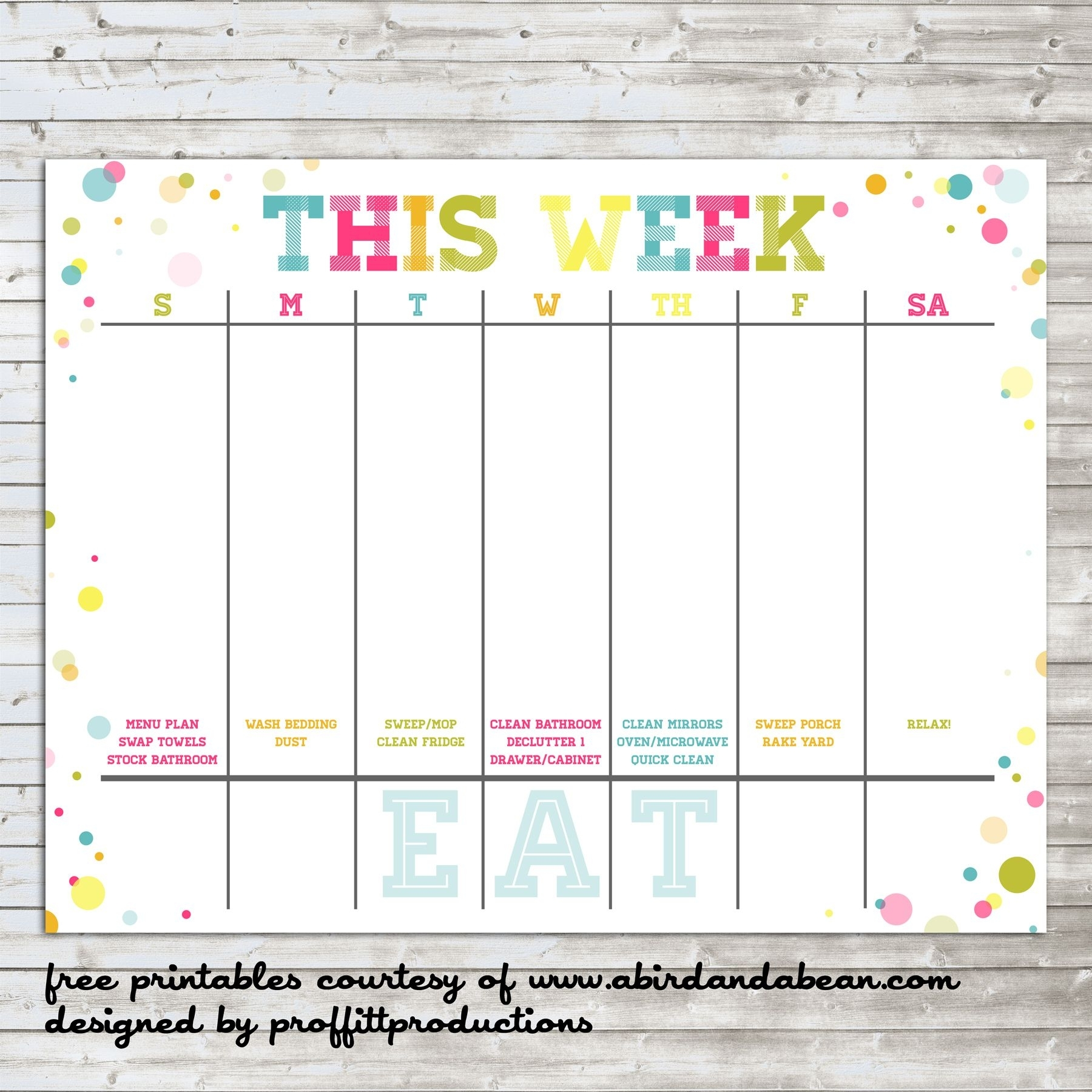 Colorful Weekly Calendar :: Free Printable (With Images