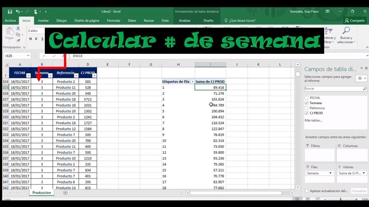 Como Calcular Numero De Semana En Excel - (Formula - Ejemplo De Una Empresa  Real)