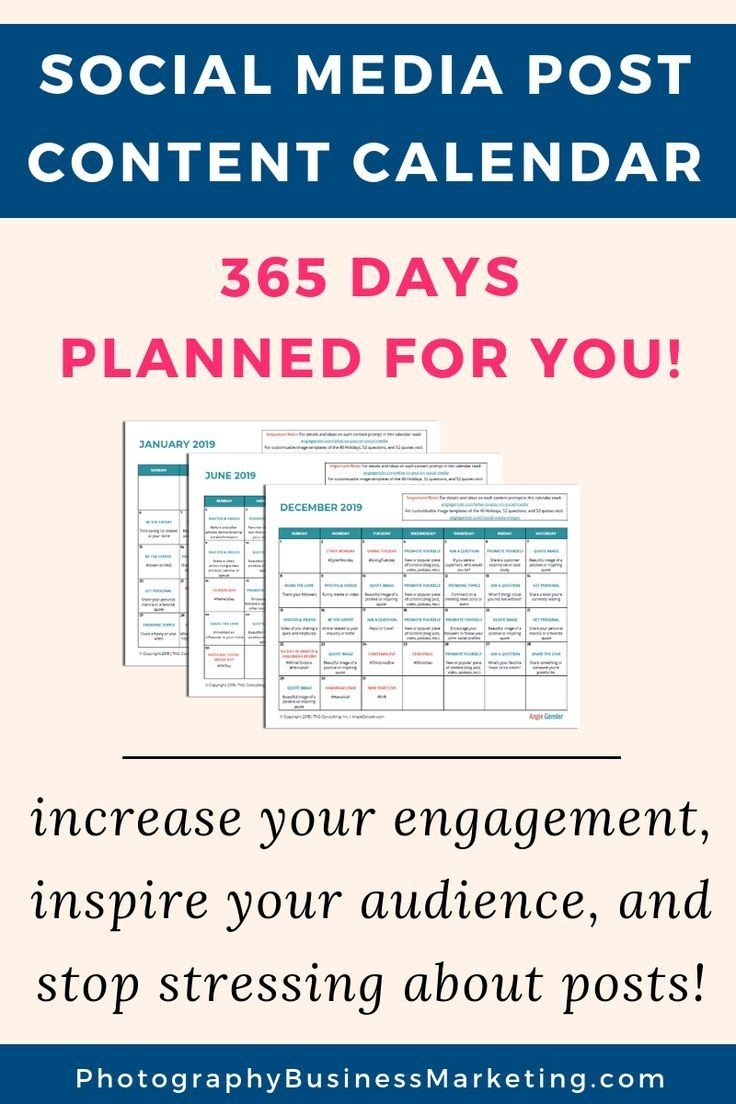 Content Calendar With 365 Days Of Post Ideas All Planned Out