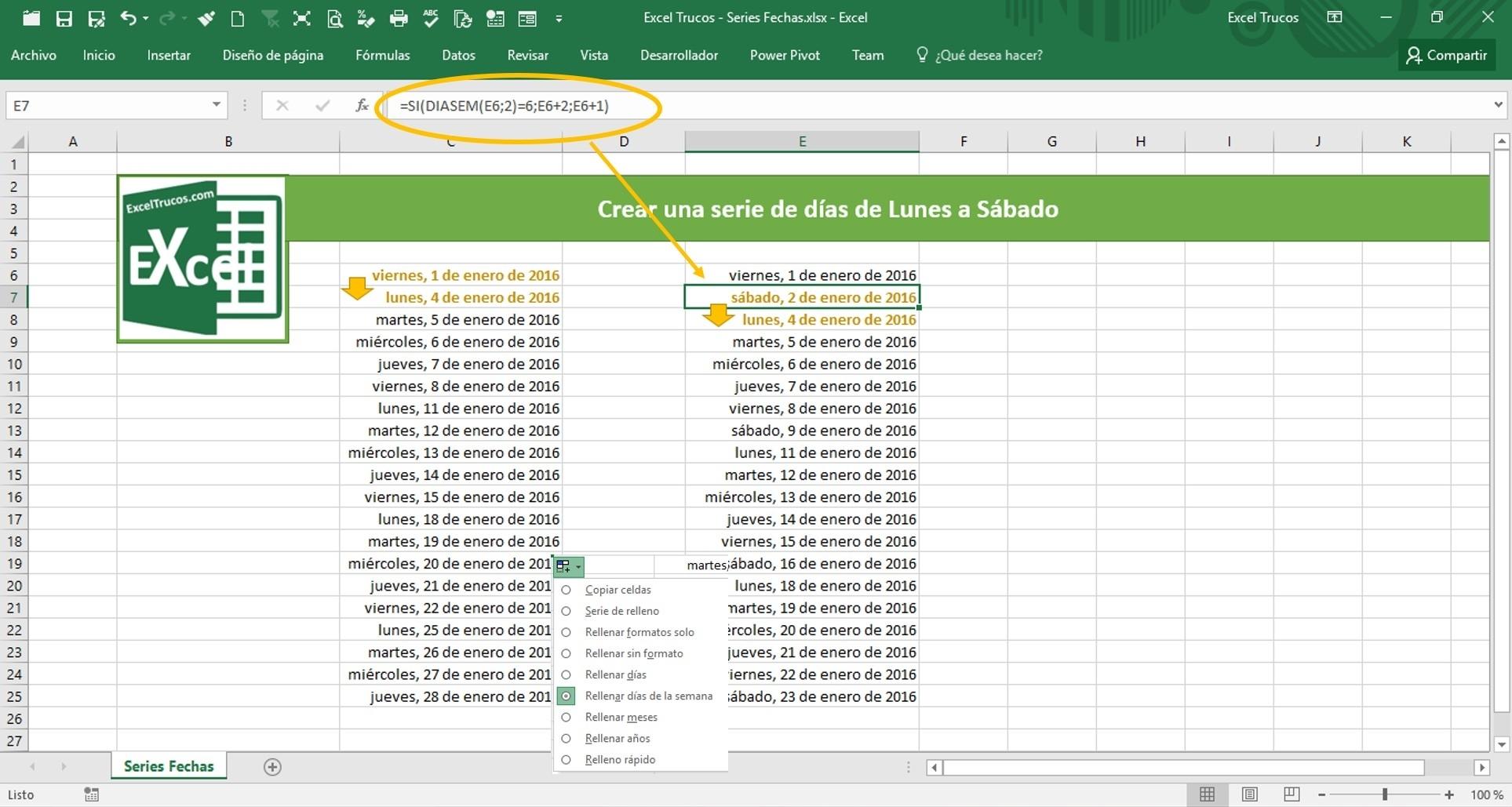 Crear Una Serie De Días De Lunes A Sábado | Excel Trucos