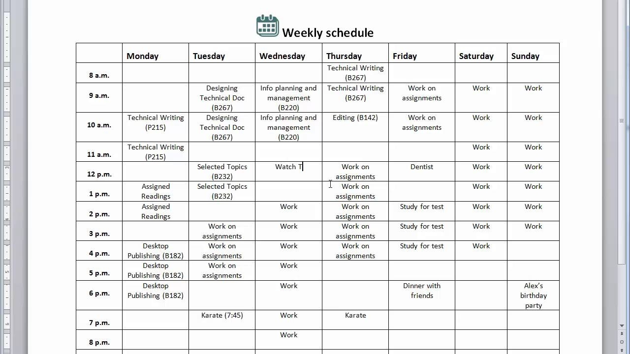 Creating A Weekly Schedule - Essential Study Skills
