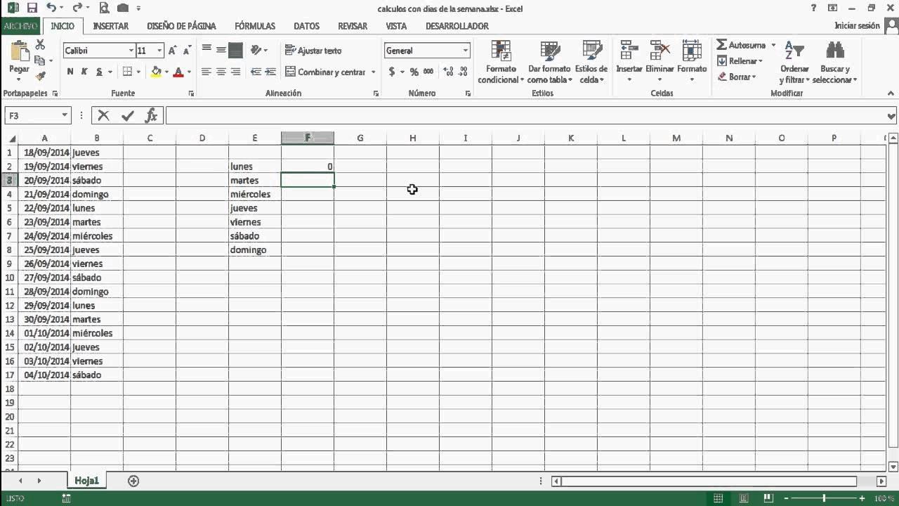 Curso De Excel Parte 6 - Calculos Con Dias De La Semana