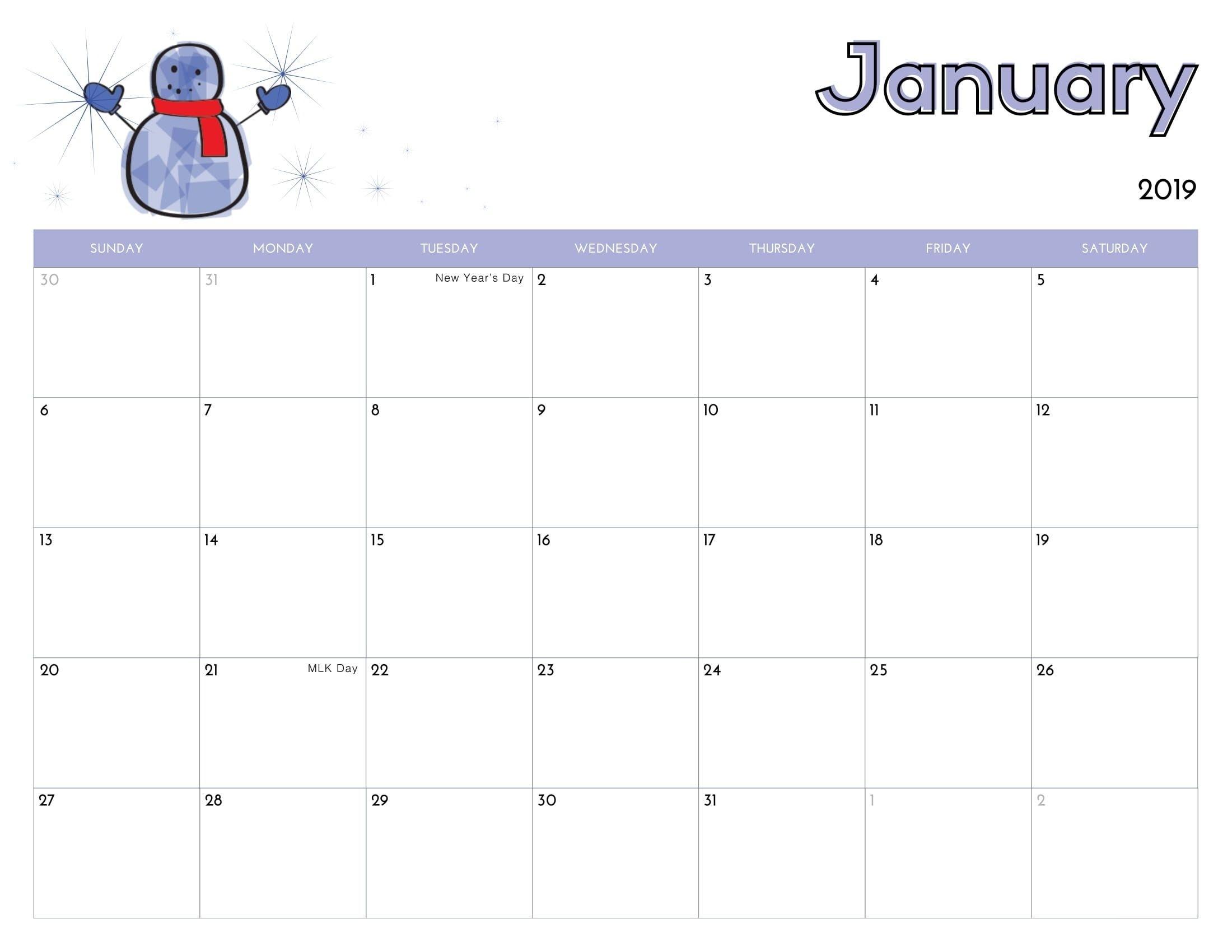 Cute January 2020 Calendar Printable Wallpapers Hd | Kids