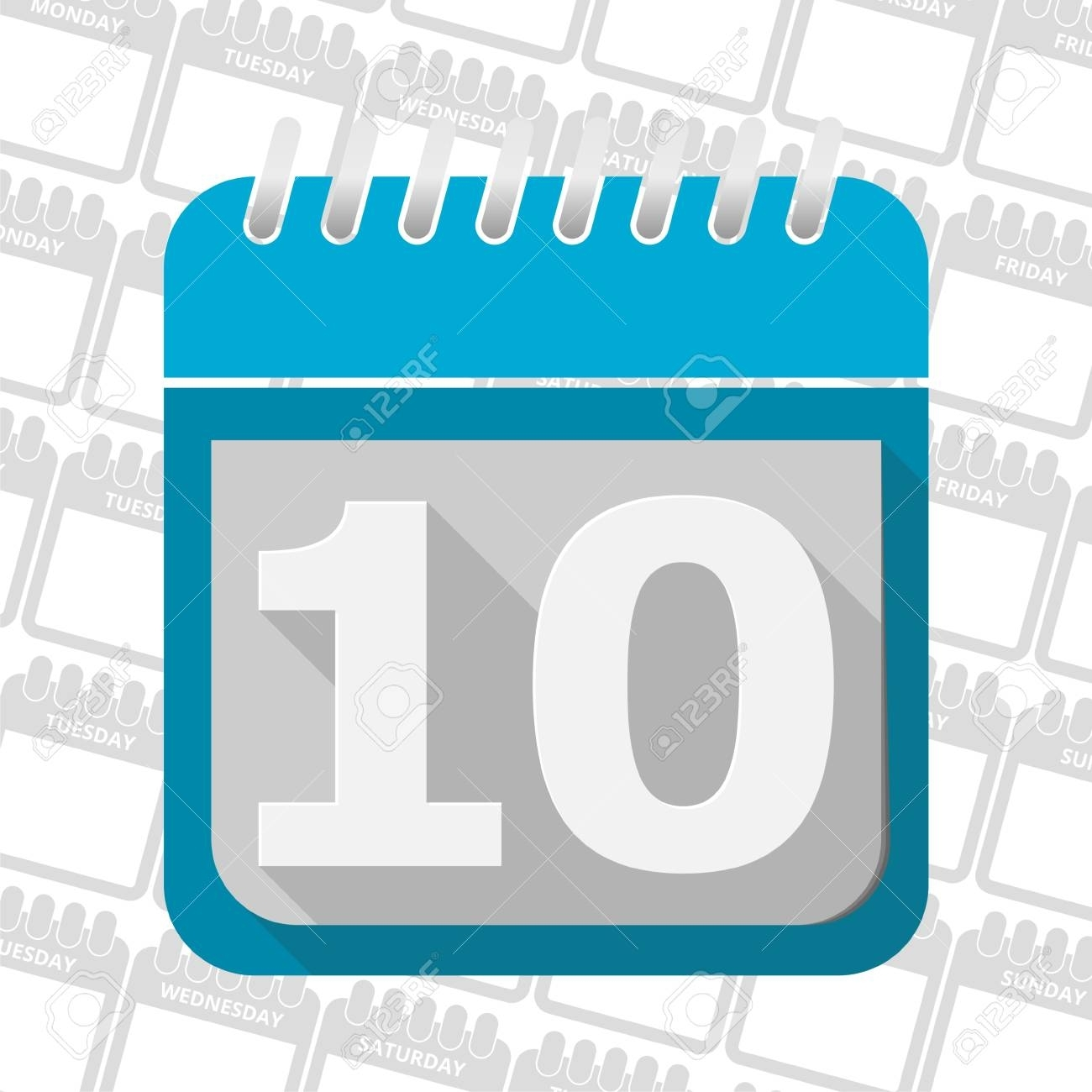 Date Button, Calendar Sign Icon. 10 Day Month Symbol.