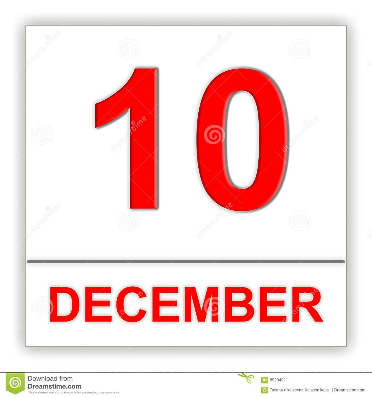 December 10. Day On The Calendar. Stock Illustration