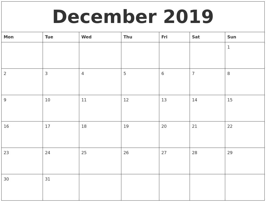December 2019 Large Printable Calendar