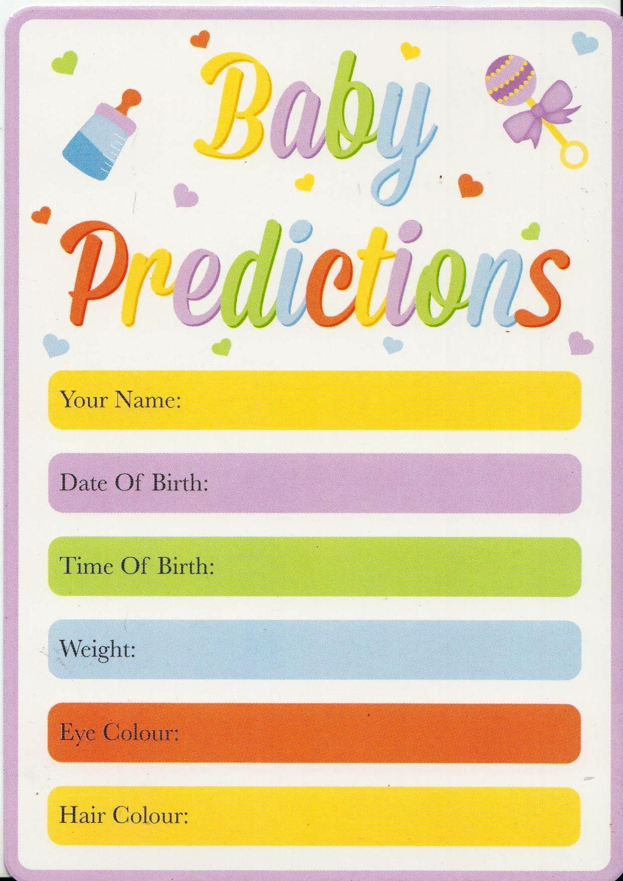 Details About Baby Shower Game - Pack Of 15 Baby Prediction Cards - Guess  The Weight/date