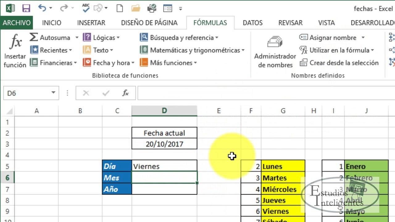 Dias De La Semana. Excel