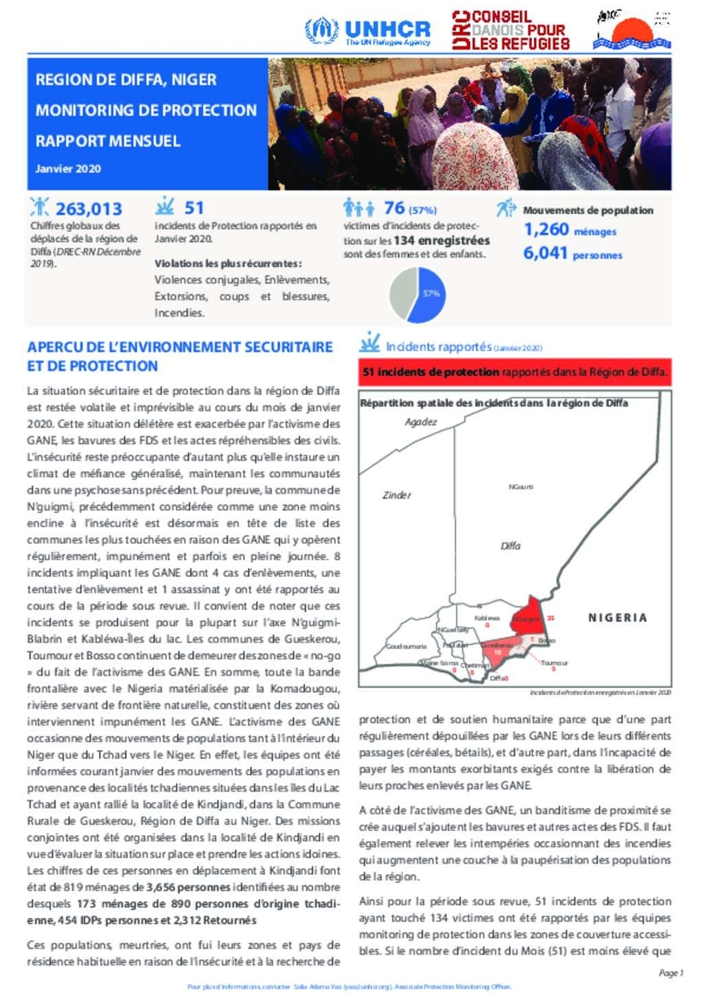 Document - Unhcr Niger, Diffa So : Monitoring De Protection
