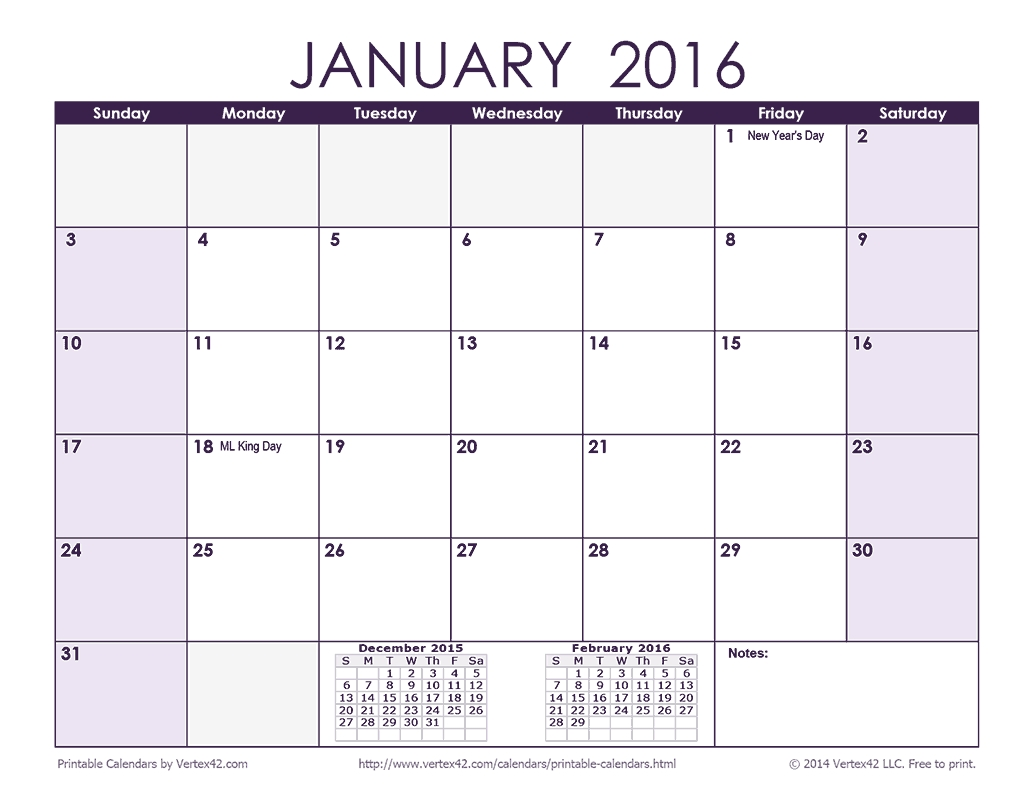 Download A Free 2016 Monthly Calendar - Purple From Vertex42