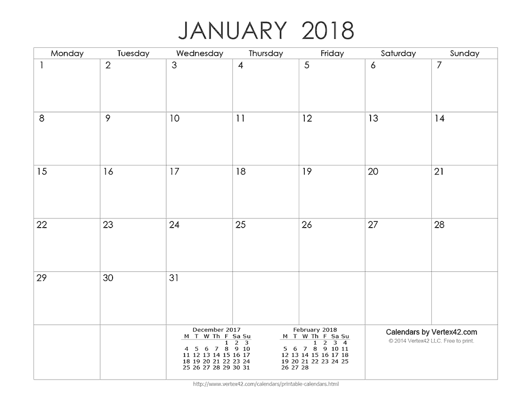 Download A Free Printable Ink Saver 2018 Calendar From