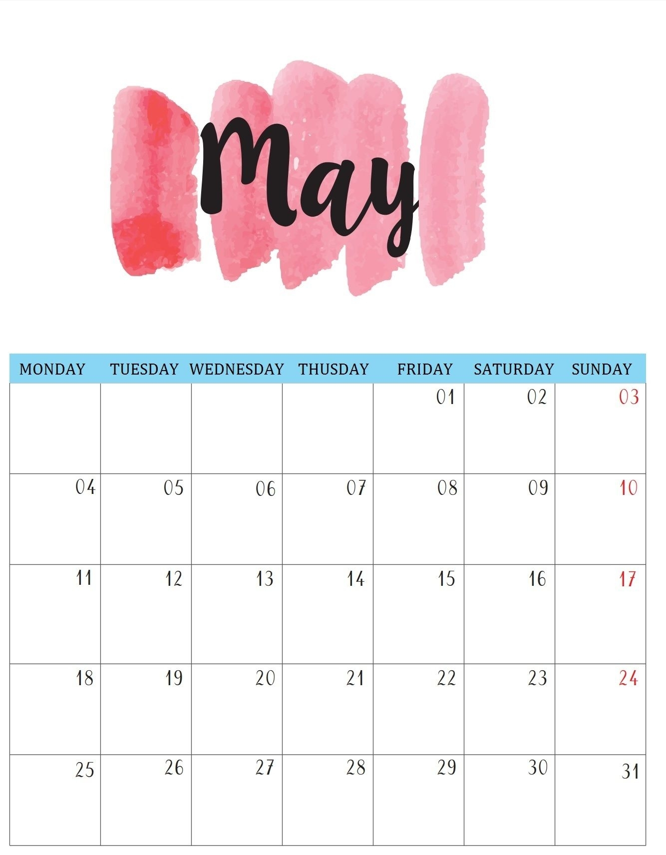 Download Cute Templates   Free Printable Calendar & Template