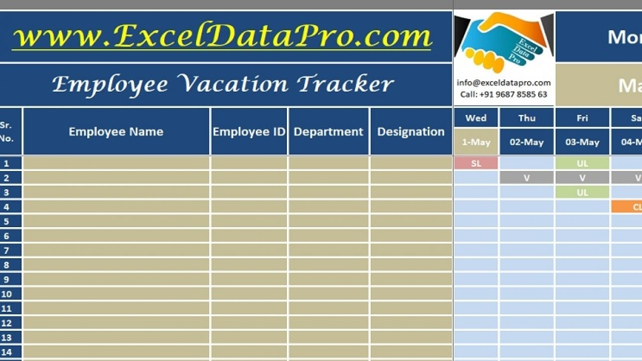 Download Employee Vacation Tracker Excel Template - Exceldatapro