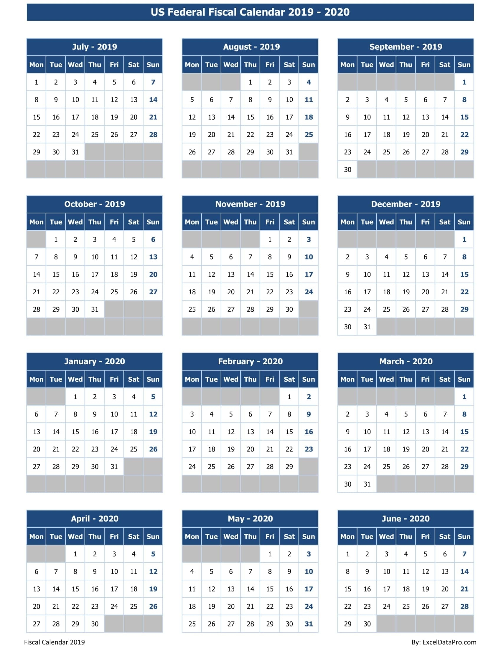 Download Us Federal Fiscal Calendar 2019-20 Excel Template