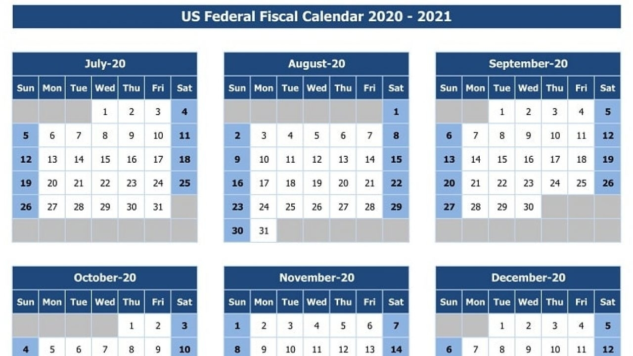 Download Us Federal Fiscal Calendar 2020-21 Excel Template