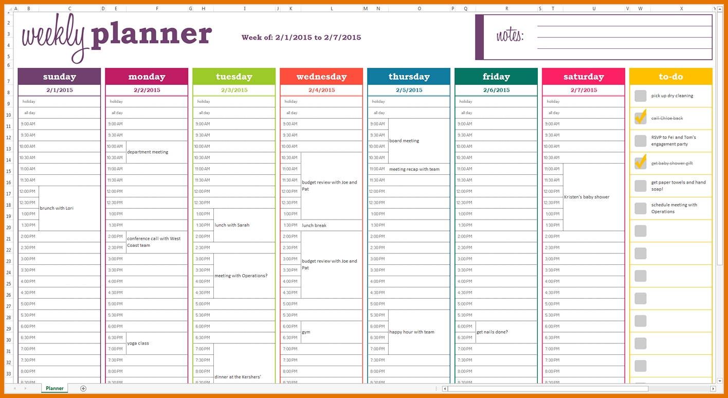 Dynamic Weekly Planner Excel Template - Screen View (Example