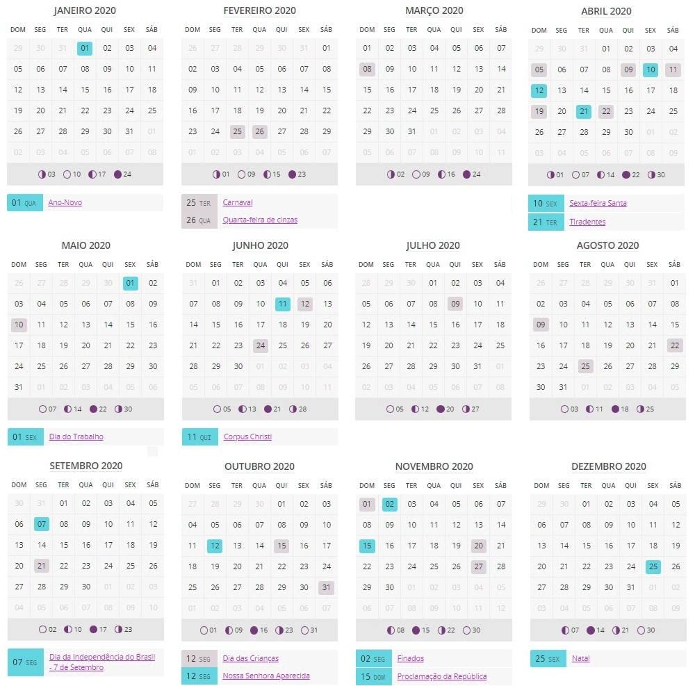 ▷ Calendário Lunar 2020 ▷ Fases Da Lua 2020