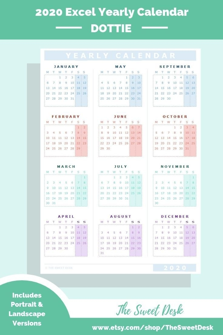 Editable 2020 Excel Yearly Calendar Template | Printable