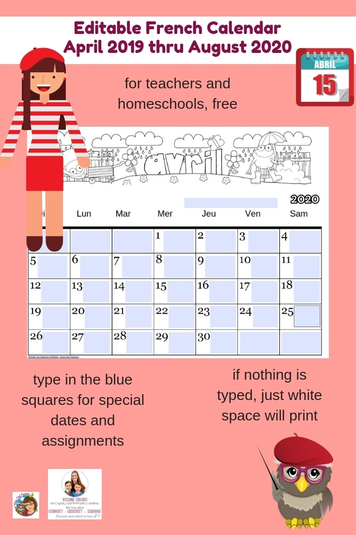 Editable French Calendar April 2019-August 2020 | Castle