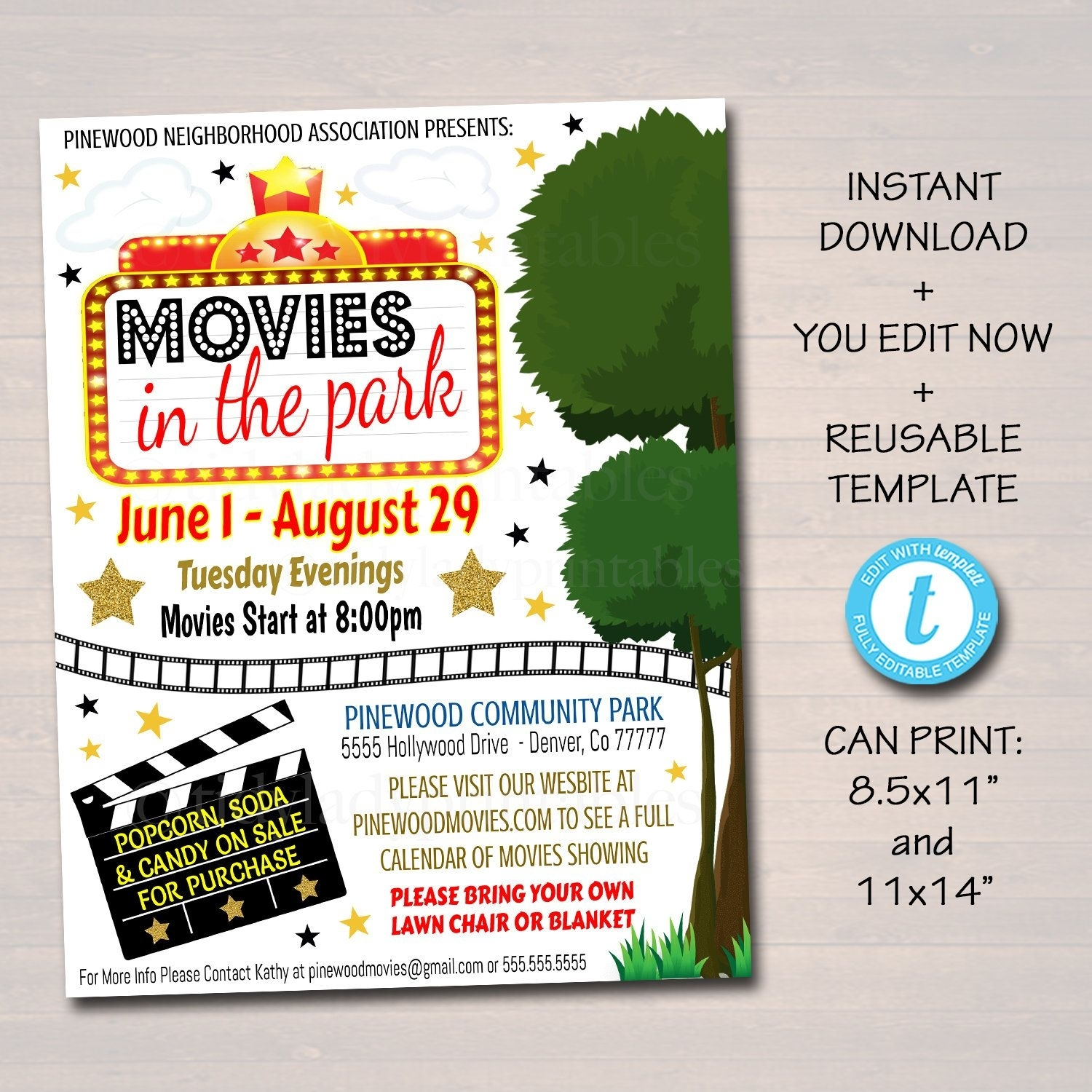 Editable Movie Night Flyer, Printable Pta Pto Flyer, School