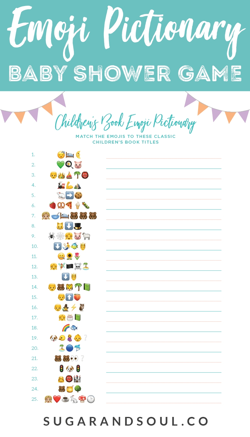 Emoji Pictionary Baby Shower Game Free Printable | Storybook