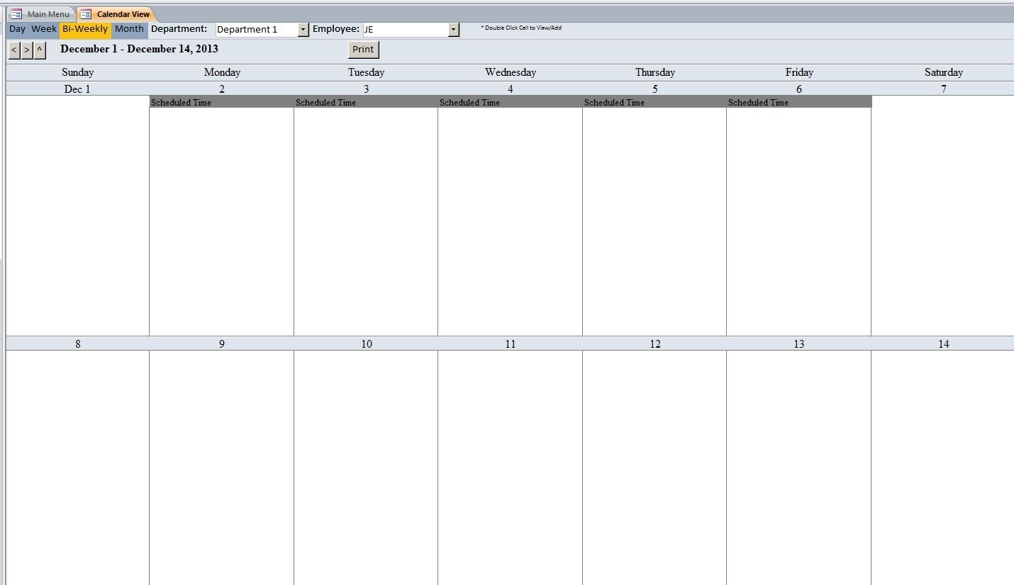 Employee Scheduling Database Template | Employee Scheduling
